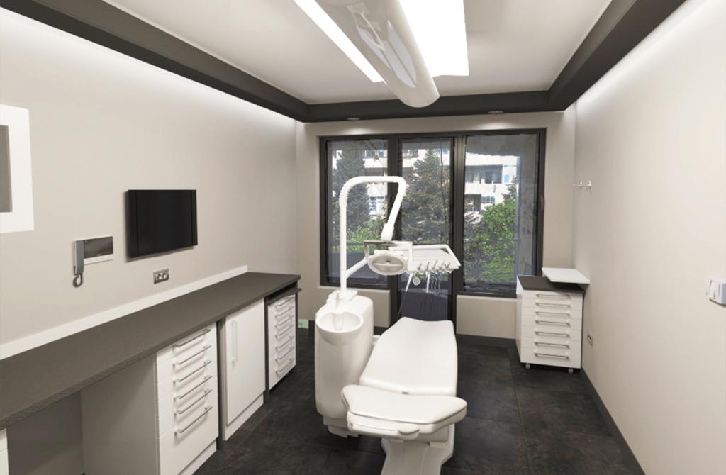 3D дентален кабинет в сиво и бяло