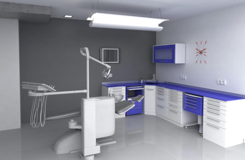 3D изглед на зъболекарски кабинет