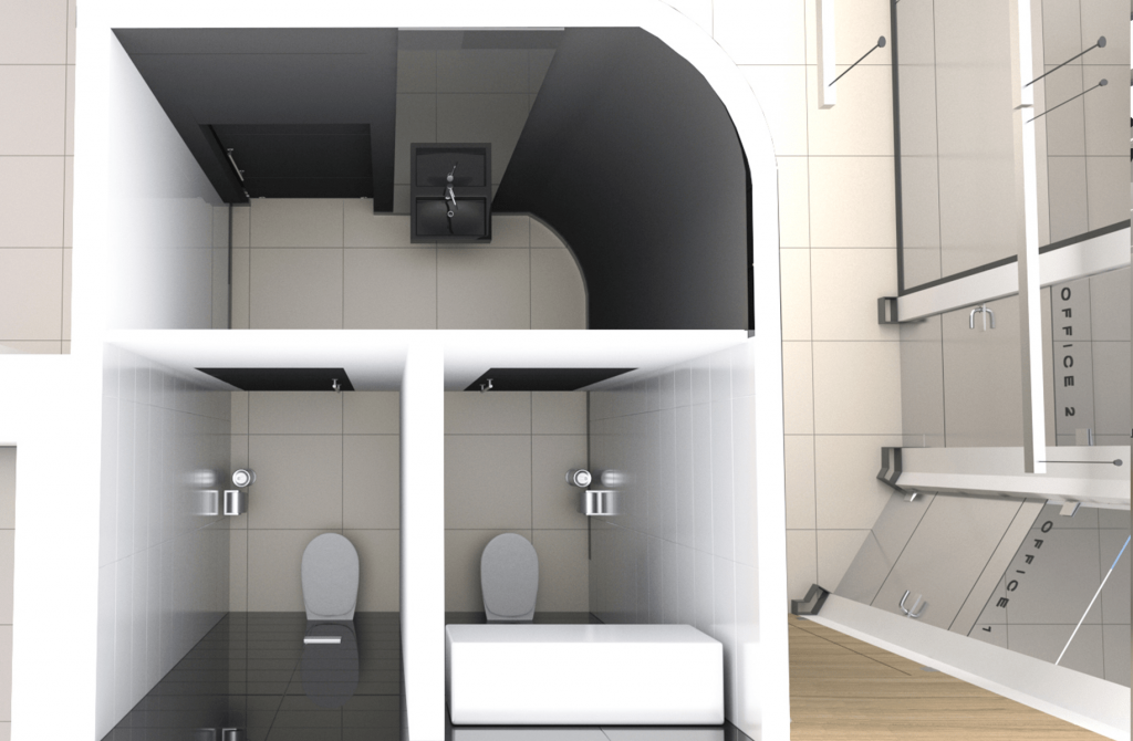 3D план тоалетна в дентален кабинет