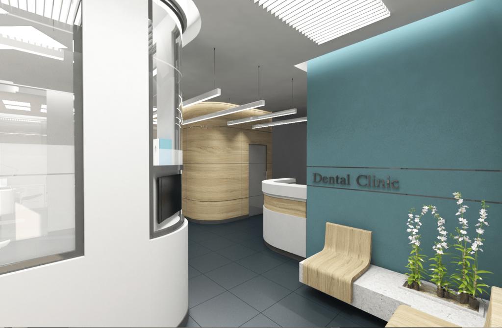 3D рендер приемна стоматологична клиника в зелено