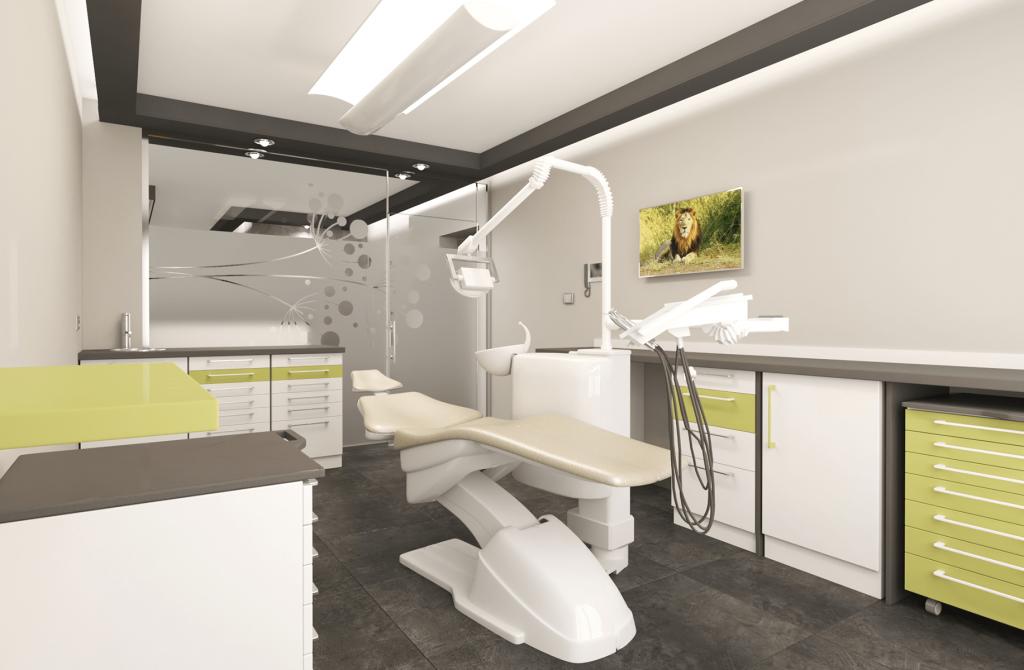 3Д стоматологичен кабинет в зелено и бяло