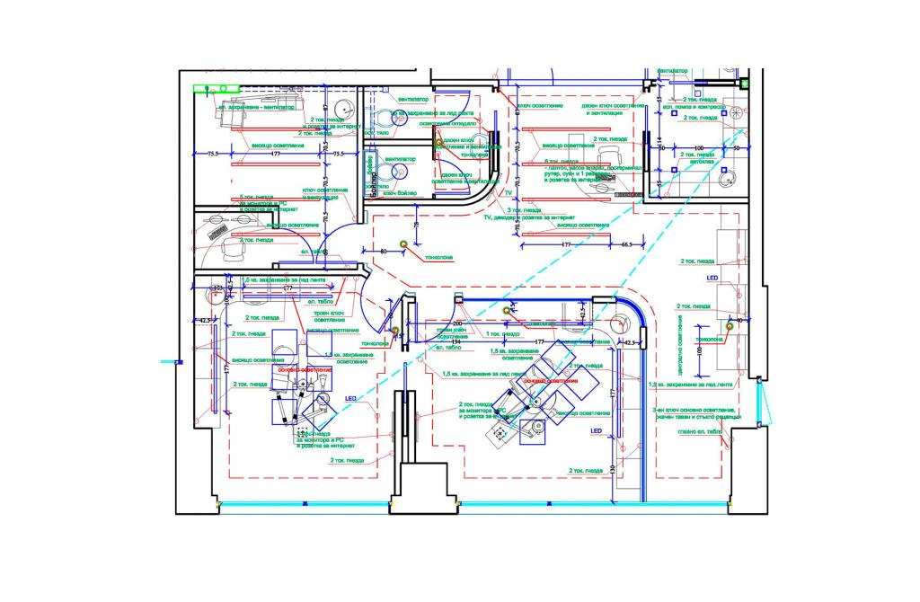 Чертеж дентален кабинет електрическа инсталация