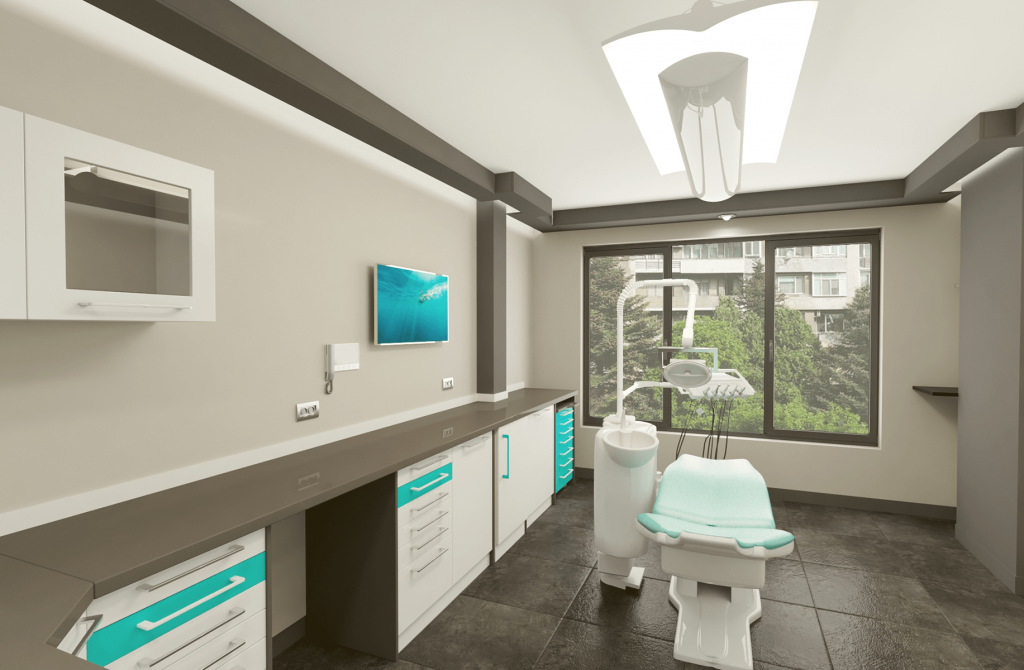 Стоматлогичен кабинет в бяло и синьо